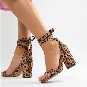 tie leg block heeled sandals